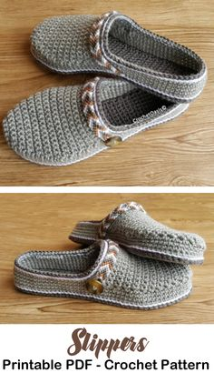 Make a pair of clog slippers. Slipper Crochet Patterns – Great Cozy Gift - A More Crafty Life Sie Hausschuhe Clogs Crochet Boots, Crochet Clothes, Crochet Baby, Clog Slippers, Knitted Slippers, Crochet Slipper Pattern, Crochet Patterns, Crochet Crafts, Crochet Projects