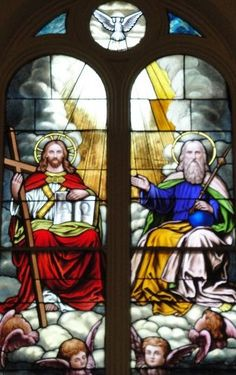 Blessed Trinity.  God the Father.   God the Son.   And God the Holy Spirit.....not 3 gods but 1