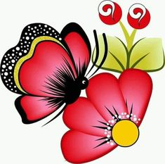 Ideas For Painting Art Flowers One Stroke Butterfly Art, Flower Art, Butterflies, Flower Patterns, Craft Patterns, Hand Painted Fabric, Madhubani Art, Painted Flower Pots, One Stroke Painting