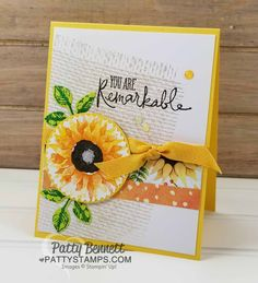 I was trying to think of a good background for my Painted Harvest sunflower cards, and I noticed my Burlap Background stamp on my shelf, so I pulled that out and used it for these sunflower cards. Christmas Cards To Make, Holiday Cards, Stamping Up Cards, Rubber Stamping, Sunflower Cards, Thanksgiving Cards, Fall Cards, Creative Cards, Homemade Cards