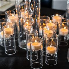 These unique cylinder shaped tealight holders will add stylish flair to any table top display. The reversible design allows the height of the tealight to vary creating an interesting effect. Tealights