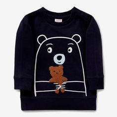 Bear Crew Neck Sweater MIDNIGHT BLUE Boys Sweaters, Boys T Shirts, Toddler Boy Outfits, Kids Outfits, Funky Baby Clothes, Junior Girls Clothing, Baby Girl Dress Patterns, Toddler Sweater, Sweater Design