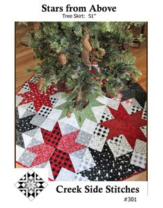 Stars From Above Tree Skirt By Hellenbrand, Patrica T  - 51 octagon Christmas tree skirt using assorted 10 squares