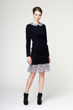 Silhouette: fitted bodice with 'peter pan' collar and skirt with a fringe, long sleeves. Fabric: 100% wool (dress) 100% viscose ( lining)... #silhouette #peter_pan #bodyfitted #midi #black #dress #collar #underskirt #fashion #style