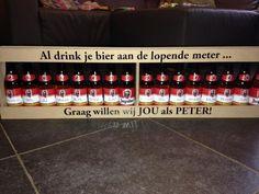 Originele manier peter vragen, bier meter, met stickers