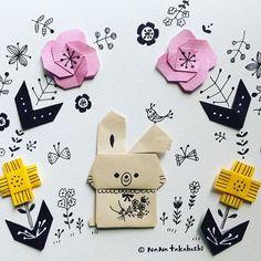 ウサ子ちゃんとお花 A bunny and flowers  #折り紙 #お花 #イラスト #うさぎ  #ペーパークラフト #チョット色暗い #シブい #paperflower  #illustration  #paperart  #origami  #bunny  #papercraft