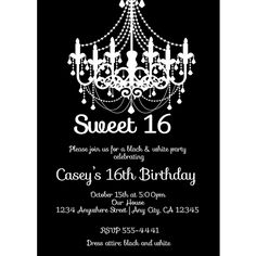 Black and white sweet sixteen party invite