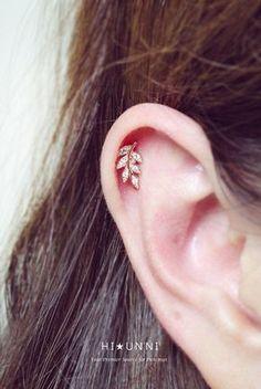 16g CZ leaf & flower ear piercing stud barbell cartilage by HiUnni #ad