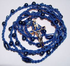 Examples or twine rosaries using #9 twine and small glass beads