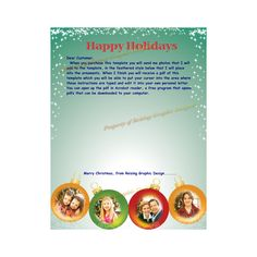 Ornament Photo Christmas newsletter pdf template that you can edit