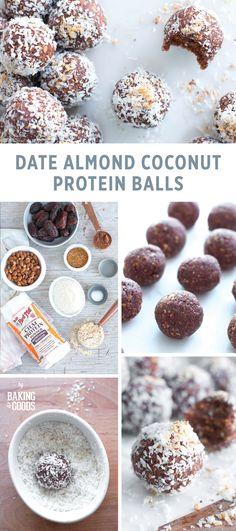 Date Almond Coconut Protein Balls - Protein balls healthy - High Protein Snacks, Protein Dinner, Protein Bites, Energy Bites, Protein Foods, Protein Recipes, Protein Muffins, Protein Cookies, Protein Cake