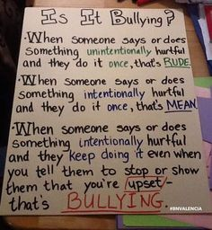 Bullying anchor chart / poster for the classroom.
