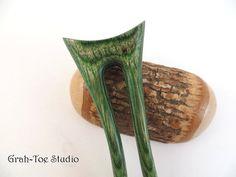 Hair Fork Hairforks Wood Hair Fork Mermaids Tail by grahtoestudio