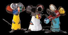 "Made from recylced materials ""Three Blind Mice"" are the ultimate 3 dimensional childrens nursery rhyme.    Dimensions are 40cm high x 29cm wide x 46cm deep. (each blind mouse)    These will look great inside or out.    As all the items in the Ultimate range are hand made they will vary slightly in colour and design.   http://arthousebroome.com.au/on-line-store/Kimberley-Art/out-door-sculpture/three-blind-mice  $420.00"