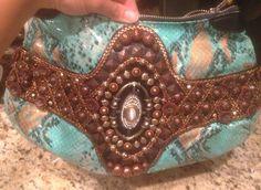 Mary Frances Purse Turquoise Snakeskin Leather #MaryFrances #Hobo Mary Frances Purses, Mary Frances Handbags, Leather Hobo Handbags, Snake Skin, Cuff Bracelets, Turquoise, Best Deals, Ebay, Jewelry