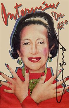 1980.Diana Vreeland drawing on the cover of Interview Magazine.
