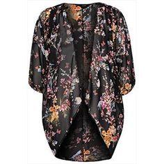 Black Multi Floral Georgette Waterfall Front Longline Kimono