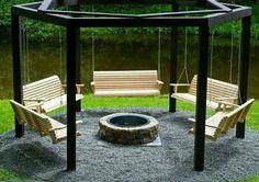 Bonfire pit with swings!