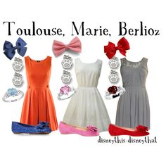 Toulouse, Marie, and Berlioz, created by disneythis-disneythat on Polyvore