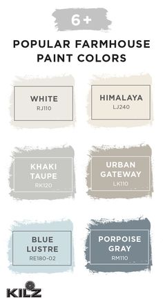 Your next DIY home makeover project is sure to be a success thanks to this collection of popular farmhouse paint shades. This rustic color palette includes everything from light neutral hues like White, Himalaya, Khaki Taupe, and Urban Gateway to shades like Blue Lustre and Porpoise Gray. The full KILZ Complete Coat Paint & Primer In One collection is available at Walmart.