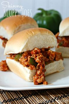 These Skinny Sloppy Joes are perfect if you are trying to eat a little heathier! (And you can't even tell they are better for you!)