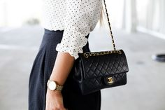 polka dot top and chanel bag