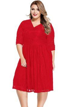 Red Lace V Neck Curvy Skater Dress,Skater Dresses,Plus Size Dress,Lace Dresses Wholesale,Stylish Curvy Dress Half Sleeve Dresses, Unique Dresses, Plus Size Dresses, Plus Size Outfits, Pretty Dresses, Half Sleeves, Flare Skirt, Flare Dress, Mini Party
