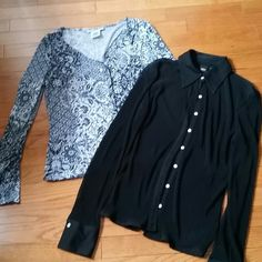 Two work tops,  S Good for work place, in good condition, one is 9 west. One is mossimo. Nine West Tops