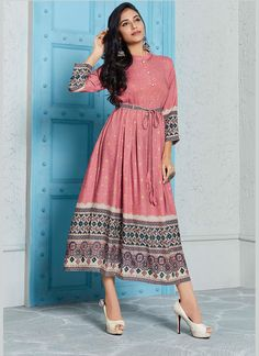 is one of the best to wear in party or any other is light weight so it's easy to handle, Buy wear kurtis from and get best Shop readymade rayon designer printed kurti in dusty pink , freeshipping all over the world , Item code Frock Fashion, Indian Fashion Dresses, Dress Indian Style, Indian Designer Outfits, Stylish Dresses For Girls, Stylish Dress Designs, Designs For Dresses, Dresses For Women, Simple Kurta Designs