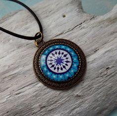 Mandala Anhänger Medaillon 35 mm Blau Mandala von KIMAMAdesign