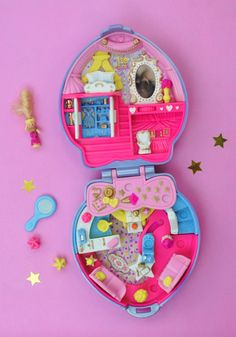 Complete, Vintage, Polly Pocket Super Star Hair Playset, Happenin' Hair Collection, Lilac Pearl Heart Shaped Compact 1995 by Pop That Cassette on Etsy!