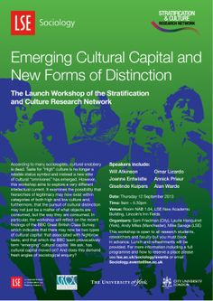Stratification and Culture Research Network launch workshop: 'Emerging Cultural Capital and New Forms of Distinction' 12 September 2013. network launch, 12 septemb, event poster, cultur capit, sociolog public, septemb 2013, public event, lse sociolog