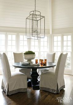 Slipcovered Parsons Dining Chairs - Atlanta Homes
