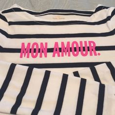 EUC Kate Spade Mon Amour tee size Small EUC super cute and versatile Kate Spade long sleeve cotton t shirt. Heavy weight, black and white stripe.  Coming from smoke free and pet free home.  Washed and laid flat to dry.  Sleeves have a slit on end for detail.  Also, j'aime with signature logo at nape of neck in back.  Originally purchased from KSNY Specialty store kate spade Tops Tees - Long Sleeve