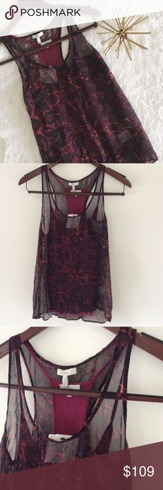 "NWT🔸Joie • Double Layer Sabine Tank in Bolero •Joie  •NWT •Double layer tanks •Multi print sheer racerback tank w/solid burgundy under layer racer back tank. The second layer tank is not built in, so it can be worn alone. •Print is ""Bolero"" •Size: small  •Please see all pics, read description, and ask questions before purchasing   •No Trades• •15% off 2+ Bundle• Joie Tops Tank Tops"