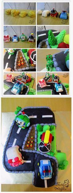 Robocar Poli number shape cake