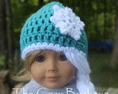 Frozen Elsa Crochet Hat pattern for American Girl Doll 18 inch doll clothes