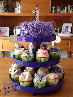 Smash cake and cupcakes, purple Amanda's Life Commentary: First Birthday!!