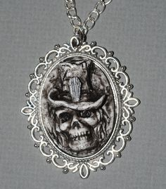 Spooky Skeleton Cameo Halloween Jewelry  Gothic Necklace Zombie Necklace  by VonErickson, $18.00  Skull