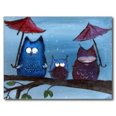 Whimsical and cute owls in the raid - No Umbrella Postcards <3
