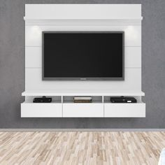 Your TV has never looked better mounted on the Cabrini Theater Panel. The 3 cubbyholes and 3 drawers allows you access to ample storage. The built in overhead LED lights call attention to this sleek and sophisticated home theater.