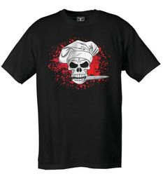Attitude Chef T-Shirt - Skull Splatter - Style # 11128SPL #cheftees #cheftshirts #chefuniforms