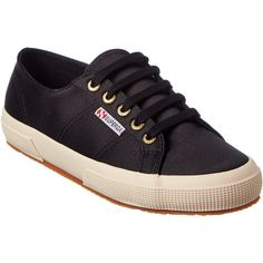 Superga Sneaker ($70) ❤ liked on Polyvore featuring shoes, sneakers, black, rubber sole shoes, superga shoes, black sneakers, lace up sneakers and black lace up sneakers