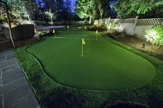 Beautiful Putting Greens from Turf's Up! Home Putting Green, Artificial Putting Green, Backyard Putting Green, Artificial Turf, Green Lawn, Golf Green, Landscape Solutions, Synthetic Lawn, Backyard Landscaping