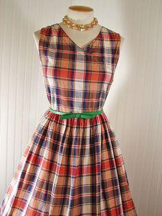 Vintage 50s 80s Dress MARTHAS VINEYARD Madras Plaid Cotton Party Sundress w Side…