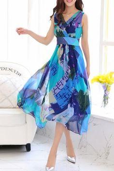 Women's Trendy V-Neck Sleeveless Color Block Print Midi Dress