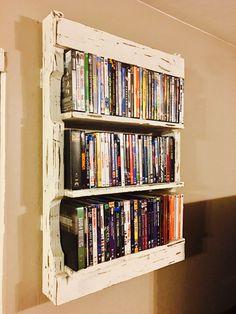 DIY Rustic Wall Pallet Shelves for DVD's - Easy & under $30 #palletfurnitureshelves