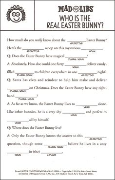 55 Ideas printable road trip games for adults mad libs for 2019 Library Activities, Easter Activities, Writing Activities, Teaching Materials, Teaching Tools, Mad Libs For Adults, Funny Mad Libs, Mad Lips, Real Easter Bunny