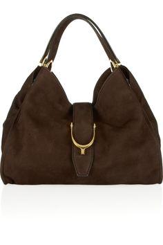 Brown Soft Stirrup nubuck suede shoulder bag   GUCCI - Outfit 101