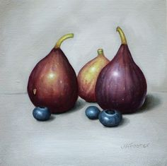 """Daily Paintworks - """"Figs and Blueberries"""" - Original Fine Art for Sale - © Jordan Avery Foster Food Artists, Still Life Fruit, Fruits And Vegetables, Veggies, Fruit Art, Fruit Recipes, Painting Inspiration, Art For Sale, The Fosters"""